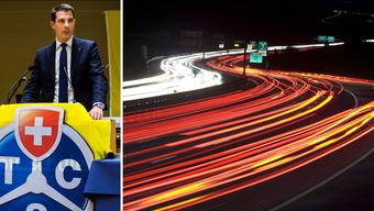 Thierry Burkart steht den abgeschalteten Strassenlampen auf der Atobahn skeptisch gegenüber.