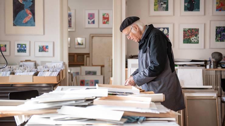 Künstler Roman Candio im Atelier an der Greiben- gasse in Solothurn.
