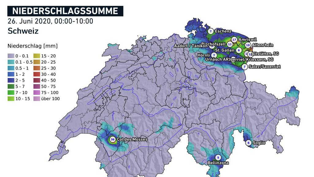 4000 Blitze am Freitagvormittag – Ostschweiz als Hotspot