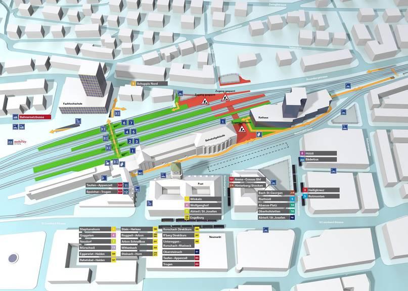Der derzeitige Situationsplan am Bahnhof St.Gallen. (SBB)