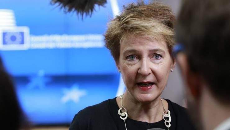 Simonetta Sommaruga hat in Brüssel zur Unterstützung von Flüchtlingen in Libyen aufgerufen.