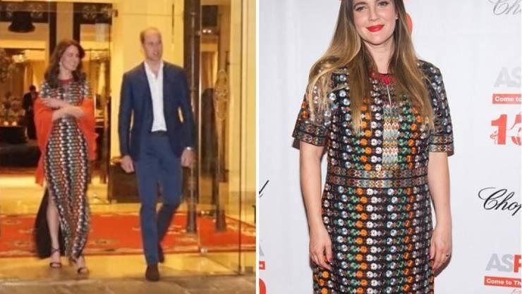 Welcher steht es besser? Drew Barrymore (r) und Herzogin Kate (ganz links) haben am Donnerstag im Ausgang dieselbe bestickte Tüll-Robe von Tory Burch angehabt. (Kensington Palace/Keystone)