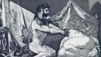 Pablo Picasso FAUNE DÉVOILANT UNE DORMEUSE Blatt 27 der Suite Vollard 1930–1937 Aquatinta aus der Edition von 310