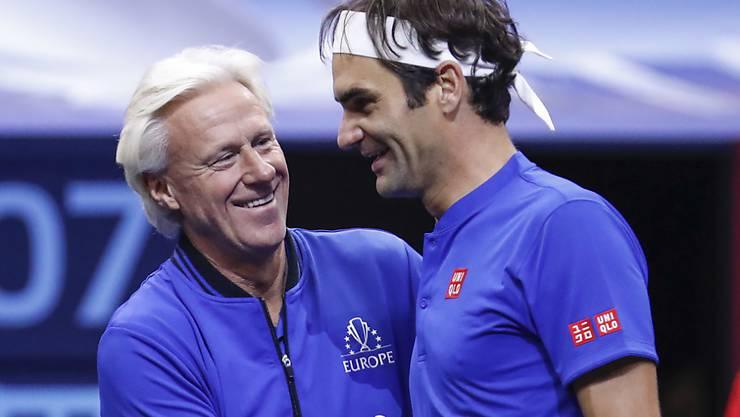 Björn Borg und Roger Federer weilen am 8. Februar in Genf, um mit den Tennis-Fans den Countdown zum Laver Cup zu starten