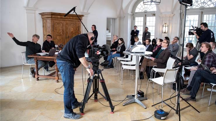 Der Auftritt von Bischof Felix Gmür in Solothurn löste grosses Medieninteresse aus.