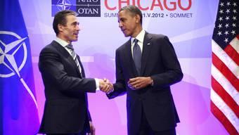 Rasmussen (l.) und Obama in Chicago bei der Eröffnung des NATO-Gipfels
