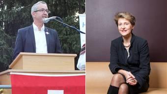 Regierungsrat Weber (l.) war längst eingeladen, da meldete sich Simonetta Sommaruga (r.) in Muttenz
