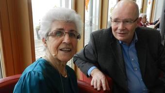 Ruth Leuthard und ihr Gastgeber Manfred Breitschmid, Leiter derStiftung St. Josef Bremgarten. BA