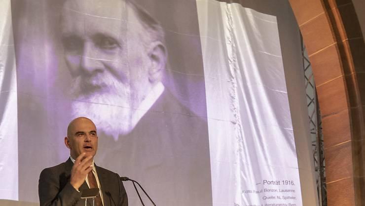 Bundesrat Alain Berset würdigte am Donnerstag in Liestal Carl Spitteler, der vor hundert Jahren den Literaturnobelpreis erhalten hat.