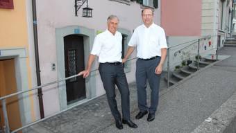 Die Führung der neu gegründeten IG Aargauer Altstädte: Geschäftsführer Peter Andres (links) und Vorstandspräsident Peter C. Beyeler.