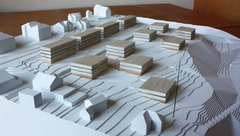 Gestaltungsvorschlag der Arcoplan, Ennetbaden: Die Gebäude werden punktförmig und versetzt zueinander angelegt.  ZVG