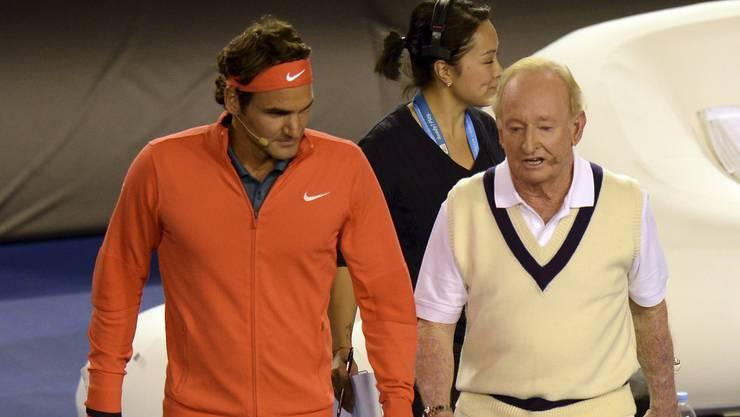 Legenden unter sich: Roger Federer mit Rod Laver