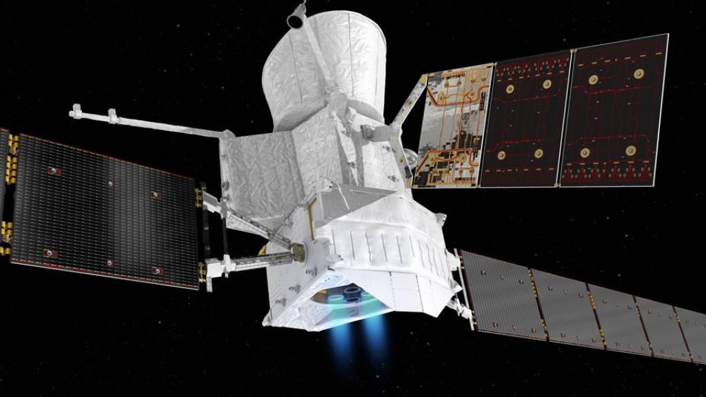 Die Merkursonde «BepiColombo» und die Instrumente an Bord - davon auch welche aus Bern - funktionierten offenbar bei ihrer Begegnung am frühen Donnerstagmorgen einwandfrei (Bild Nasa).