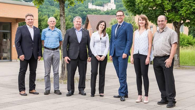 Gemeinderat Oensingen (v.l): Christoph Iseli, Georg Schellenberg, Theodor Hafner, Nancy Lunghi, Fabian Gloor, Selina Hänni,Bruno Locher