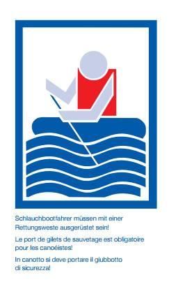1. Schlauchbootfahrer müssen mit einer Rettungsweste ausgerüstet sein!