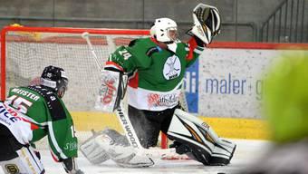 Altstadt-Goalie Luca Berger in Aktion. Eishockey 2. Liga, EHC Bucheggberg - SC Altstadt Olten (16.12.2018).