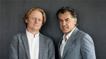 Flavin, der Sohn von Donald Judd (l.) und Michael Tojner, Chef der Alu Menziken.
