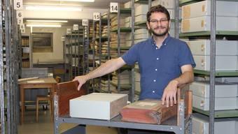 Der Archivwagen, den Raoul Richner von der Kantonsbibliothek geschenkt bekam, hat bald einen Auftritt im «Bestatter».