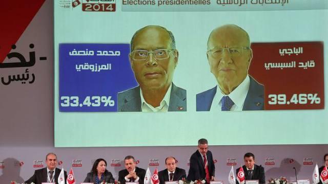 Die Wahlkommission am Dienstag in Tunis vor den Medien