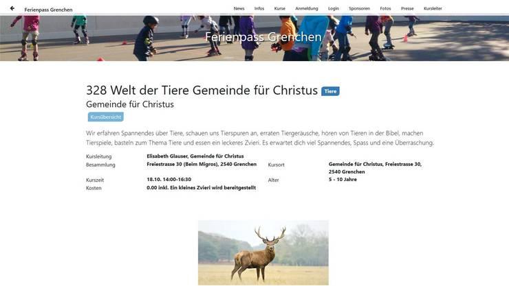 So präsentiert sich Kurs 328 auf der Homepage des Grenchner Ferienpasses.