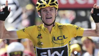 Der Brite Chris Froome (30) gewinnt die erste Bergankunft bei der 102. Austragung der Tour de France solo und baut seine Führung im Gesamtklassement weiter aus