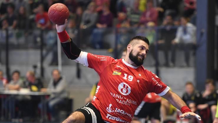 Station Siggenthal, 19.10.2019. Sport, Handball NLA, Saison 2019 / 2020. TV Endingen - St. Otmar St. Gallen. Leonard Pejkovic (TVE). Copyright by: Alexander Wagner Station Siggenthal, 19.10.2019. Handball, NLA: TV Endingen - St. Otmar St. Gallen