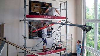 Wegen der Sanierung wurde das Mosaik des Künstlers Max Brunner entfernt werden.