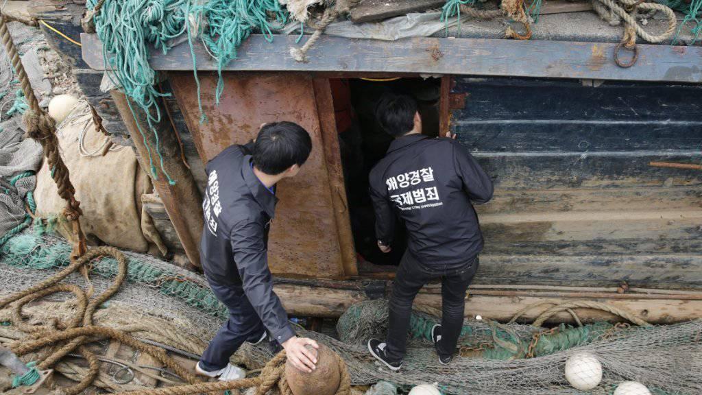 Beschlagnahmtes chinesisches Fischerboot in Südkorea bei einem früheren Zwischenfall: Am Freitag sollen indonesische Militärschiffe auf chinesische Boote geschossen haben, die sich in umstrittenem Seegebiet befanden. (Archivbild)