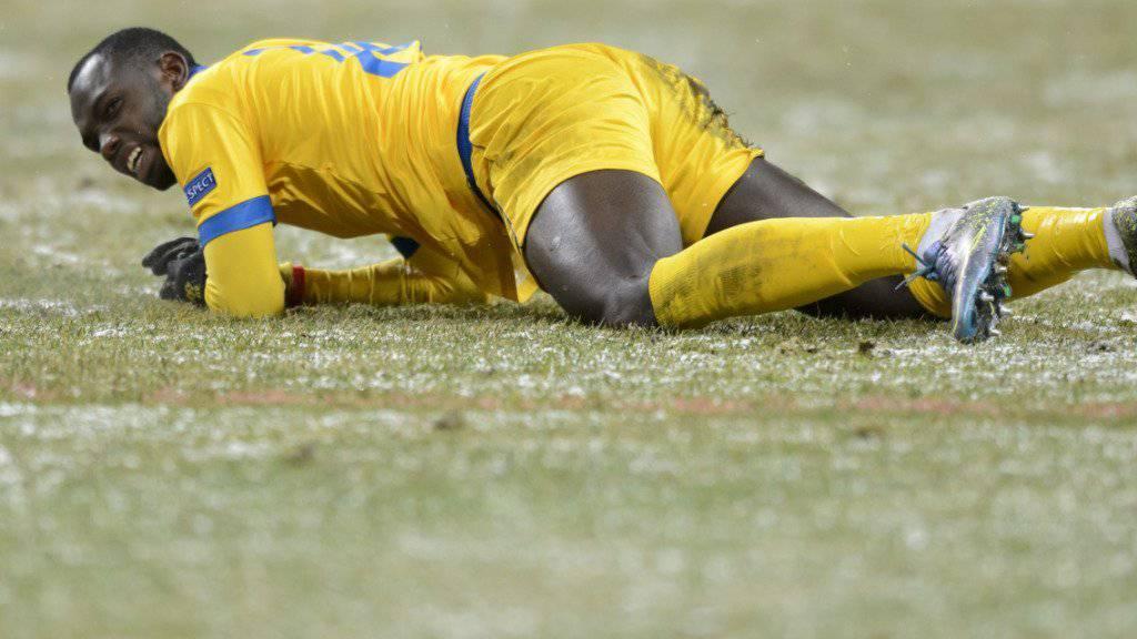 Sions Topskorer Moussa Konaté (22) musste beim Europa-League-Gruppenspiel bei Rubin Kasan (0:2) das Feld nach 81 Minuten mit einer gebrochenen Hand verlassen
