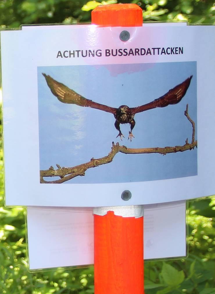 Der Werkhof Rudolfstetten warnte 2013 mit einer Tafel vor der Gefahr durch Mäusebussarde.