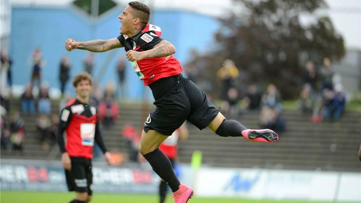 So geht Jubel: Der FCA-Regisseur empfahl sich letzte Saison für höhere Aufgaben und läuft in dieser Spielzeit für den FC Thun in der Super League auf.