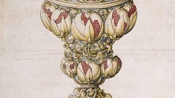 Zeichnung eines spätgotischen Deckelpokals mit Granatapfelmuster. Basler Goldschmiederiss, um 1510/1520. Federzeichnung (schwarz) – aquarelliert, 42,5 × 28,8 cm, Kupferstichkabinett – Amerbach-Kabinett.