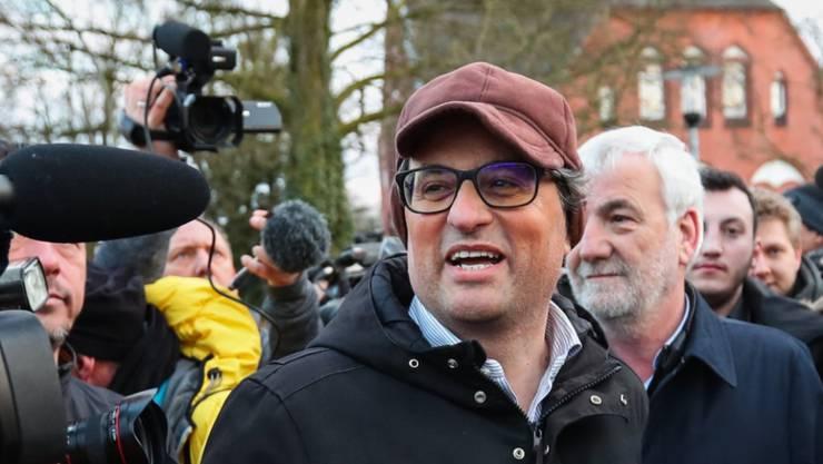 Der von Puigdemont vorgeschlagene Nachfolger als katalanischer Regionalpräsident: Quim Torra (aufgenommen beim Besuch im norddeutschen Neumünster am 26. März während Puigdemonts Haft).