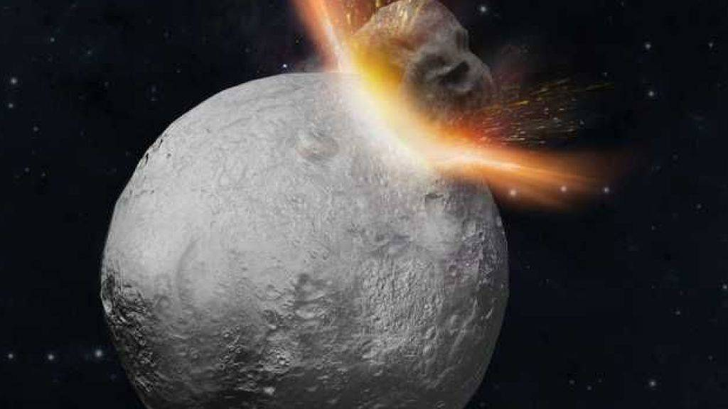 Ein heftiger Einschlag auf Vesta könnte die verschiedenen Komponenten des Asteroiden vermischt haben. Trümmer dieser Mischung landeten als Meteoriten auf der Erde. (Illustration)