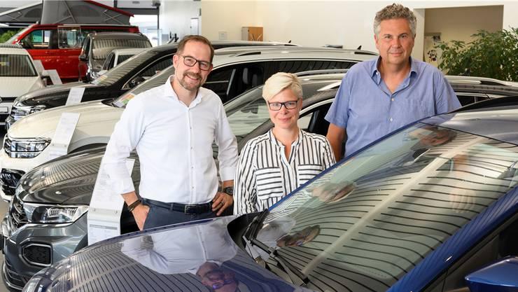 Die neuen Besitzer des Autocenters Baschnagel: Mario Widmer, Esmé Rockmann und Andreas Grossmann (v.l.).