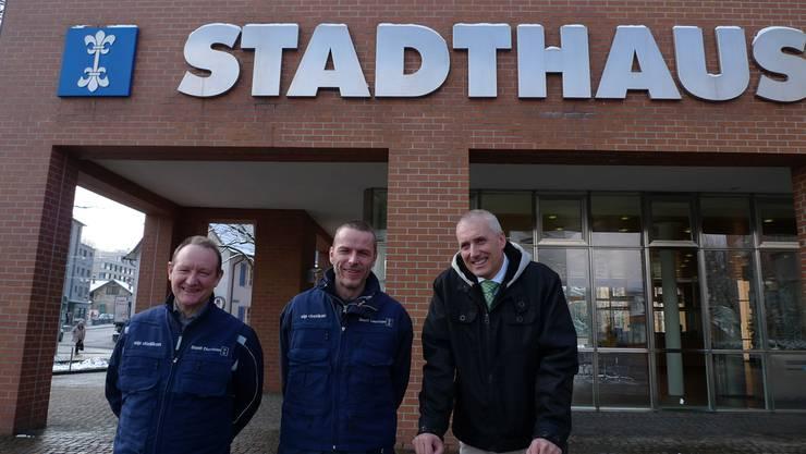 Christian Fischer und Peter Laib von der SIP helfen Heinz Illi von der Stadt Dietikon, das Ziel «Dietikon ist sauber und sicher» umzusetzen. SAR
