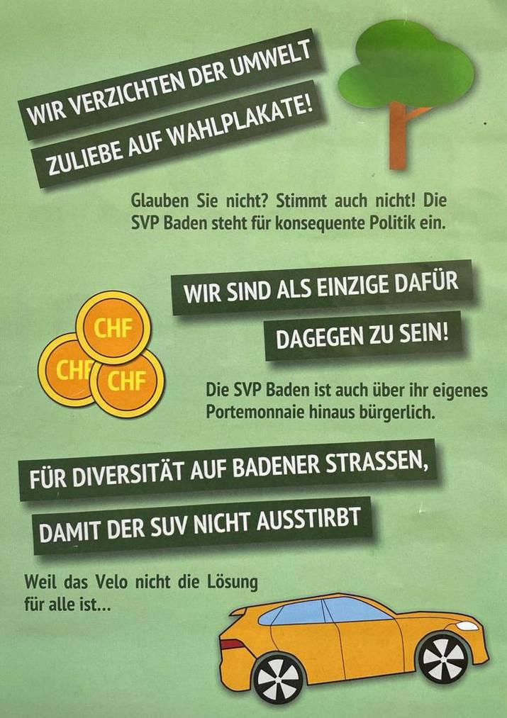 Mit desem Flyer wirbt die SVP Baden für die Einwohnerratswahlen.