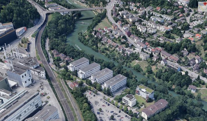 Blick mit Google Earth auf die vier Pavillons