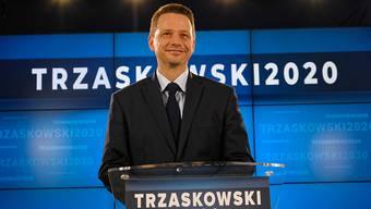 Rafal Trzaskowski, Oberbürgermeister von Warschau und neuer Präsidentschaftskandidat des Oppositionsbündnis Bürgerkoalition (KO), spricht bei einer Pressekonferenz über seine Wahlkampagne. Foto: Mateusz Marek/PAP/dpa