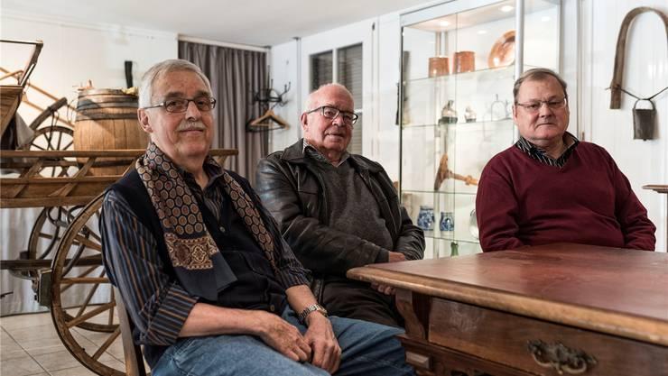 Urs Brodbeck, Hans Bühler und Benno Bühlmann sind die wichtigsten Köpfe in der Kulturwerkstatt Hofstetten-Flüh.fotos: roland schmid