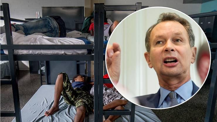 Philipp Müllers Vorschlag zu den Asylkosten wird vom Parlament abgelehnt. Im Bild Asylsuchende im Empfangs- und Verfahrenszentrum Chiasso. (Archiv)