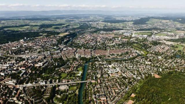 Blick auf Bern Richtung Schönbühl. Foto: Schweizer Luftwaffe