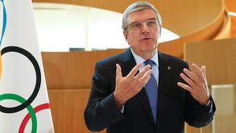 Der IOC-Präsident Thomas Bach richtet sich an die Welt des Sports.