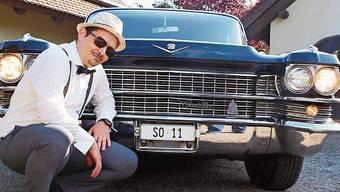 Andy Gygli mit Cadillac beim Dreh für den Video-Clip für seinen Track «sowieso SO».