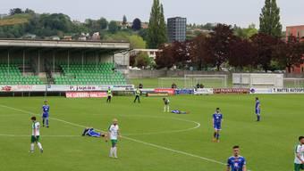 Enttäuschte Wohler: Der FC Wohlen verliert das Spiel gegen Yverdon und steigt in die erste Liga ab.