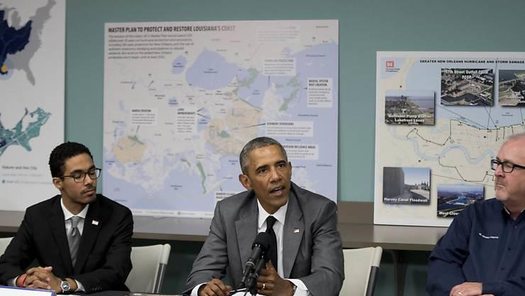 """US-Präsident Barack Obama nahm in New Orleans an mehreren Veranstaltungen zum 10-Jahre-Jubiläum von Hurrikan """"Katrina"""" teil."""