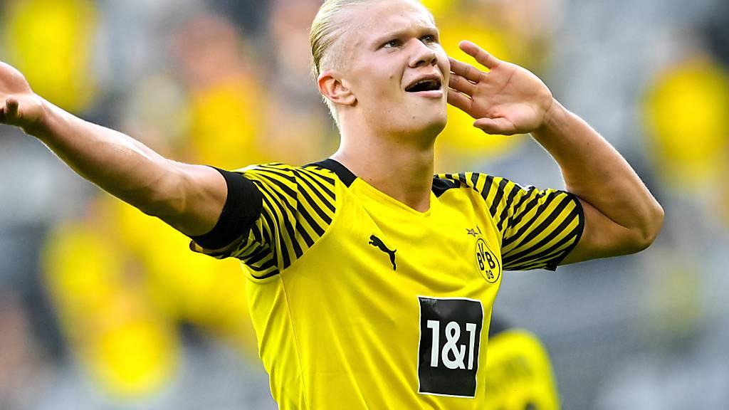 Dortmunds Matchwinner Erling Haaland ist in Tor- und Feierlaune