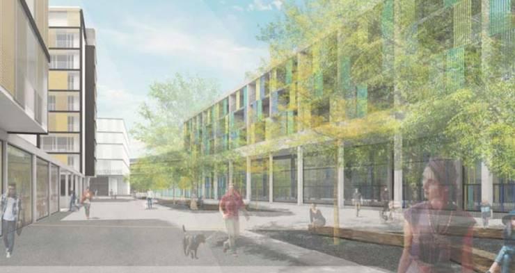 Visualisierung des Platzes zwischen der RBS-Perronhalle und den Espace-Gebäuden