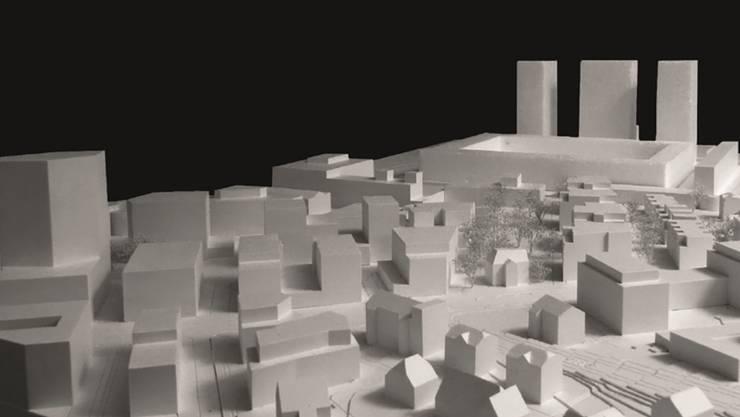 Modellaufnahme des Torfeld-Quartiers mit den drei Hochhäusern (hinten).