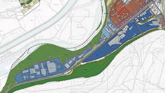 In der Arbeitszone I und in der Arbeitszone II (hellblau) im Westen Bruggs muss für Grünflächen ab 200 Quadratmetern künftig ein ökologisches Konzept eingereicht werden, heisst es in der neuen Bau- und Nutzungsordnung. Bild: zvg